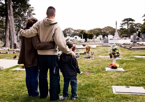 Family at a cemetery
